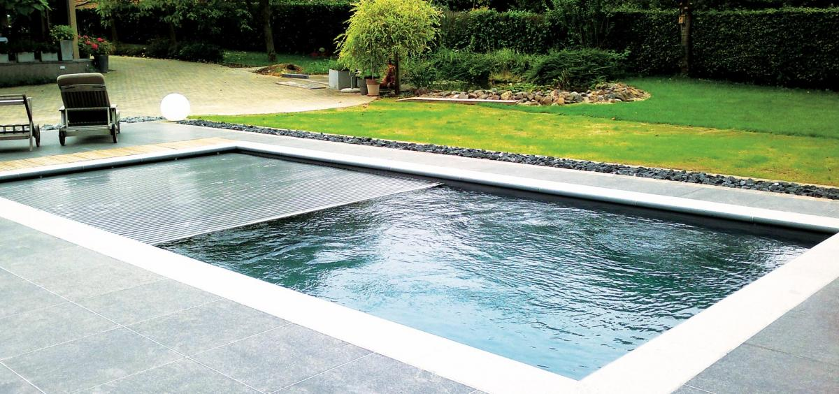 The Reflection Fiberglass Pool with Auto Cover by Leisure Pools