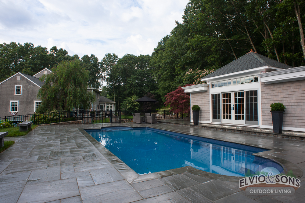how to build a fiberglass pool with stone deck