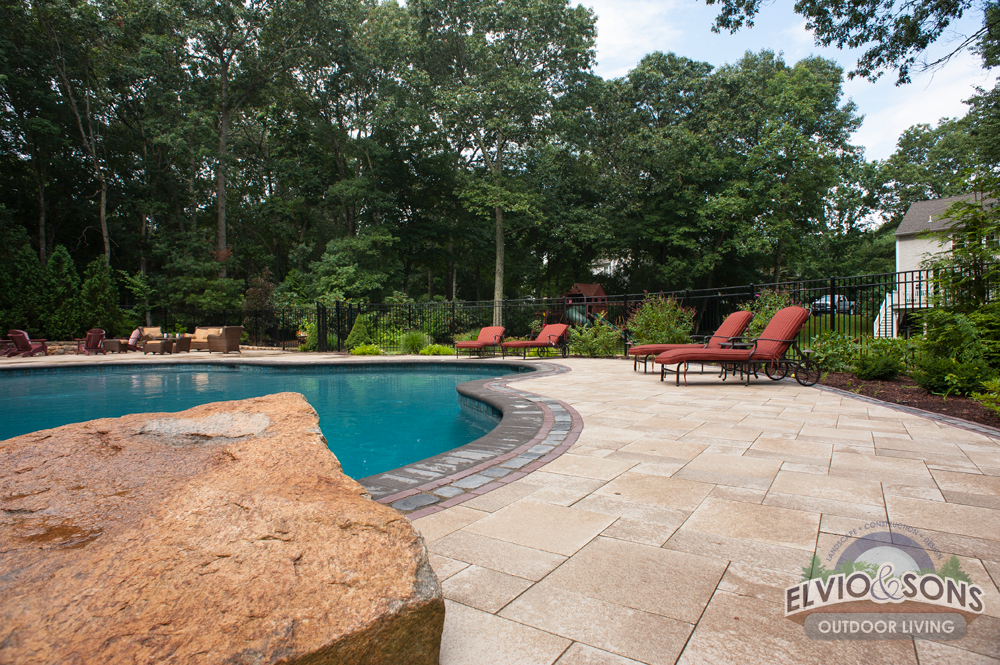 South County Gunite Pool With Water Features And Pool House