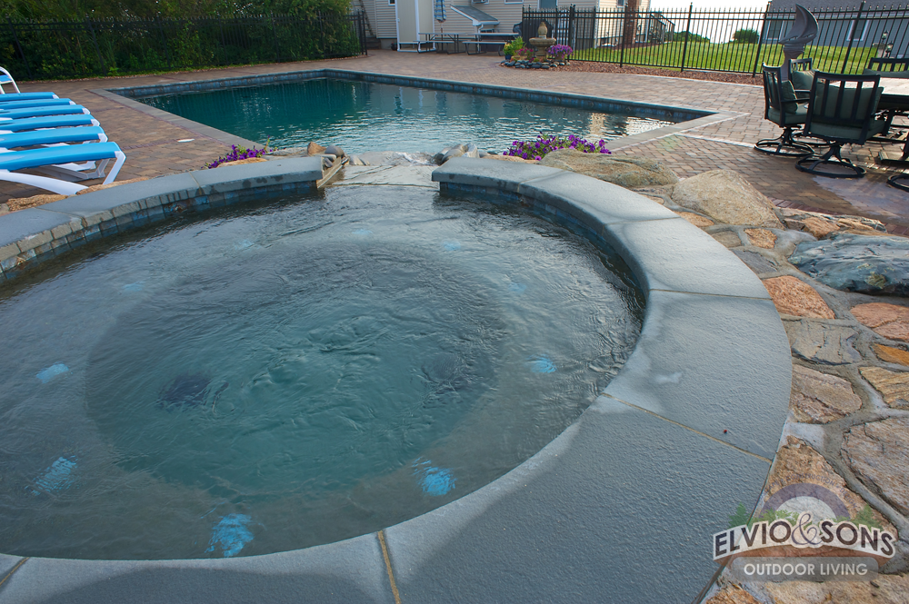 Narragansett, RI Gunite Swimming Pool, Spa, Patio And Fire Place | Elvio  And Sons