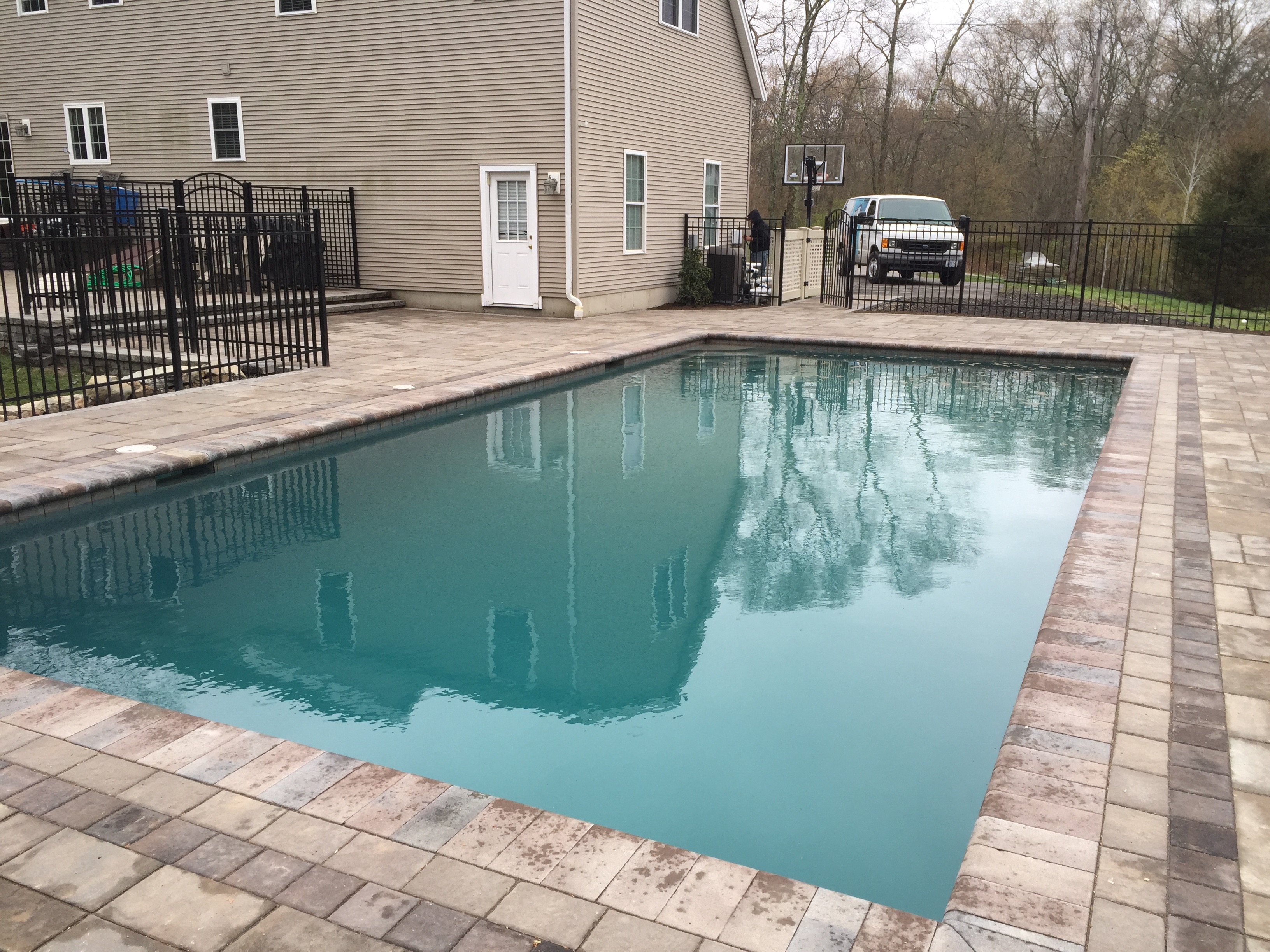 This Custom Built Gunite Pool And Patio By Elvio And Sons Was Completed In  2016. The Patio Is Constructed With Unilock Beacon Hill Pavers.