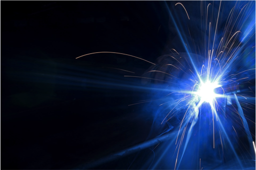 The flash of an arc weld