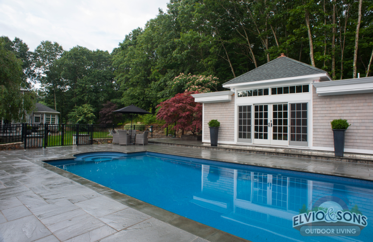 North Kingston Fiberglass Pool and Blue Stone Patio