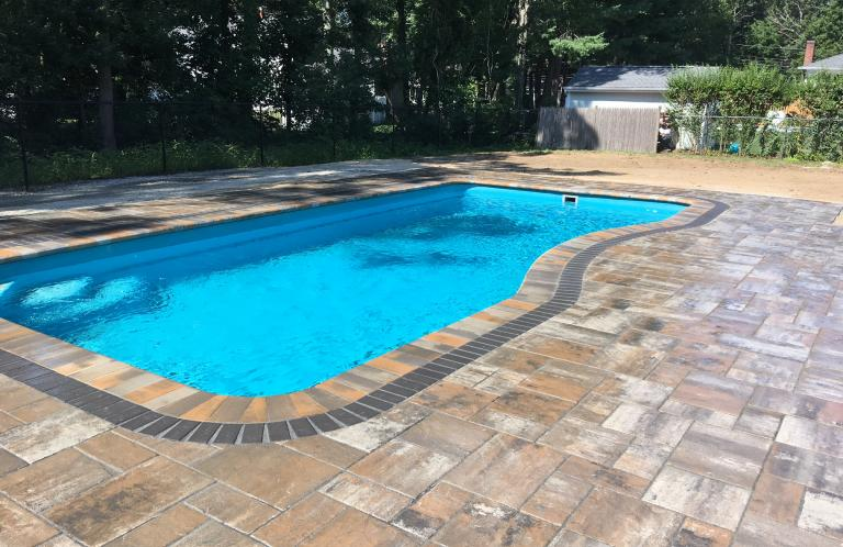 moroccan fiberglass pool and unilock paver patio - Above Ground Fiberglass Swimming Pools