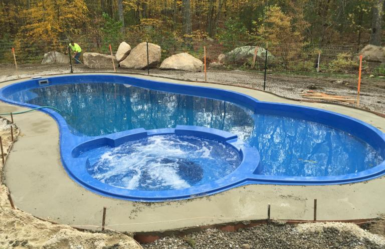 West Greenwich Allure Fiberglass Pool with Built-in Spa