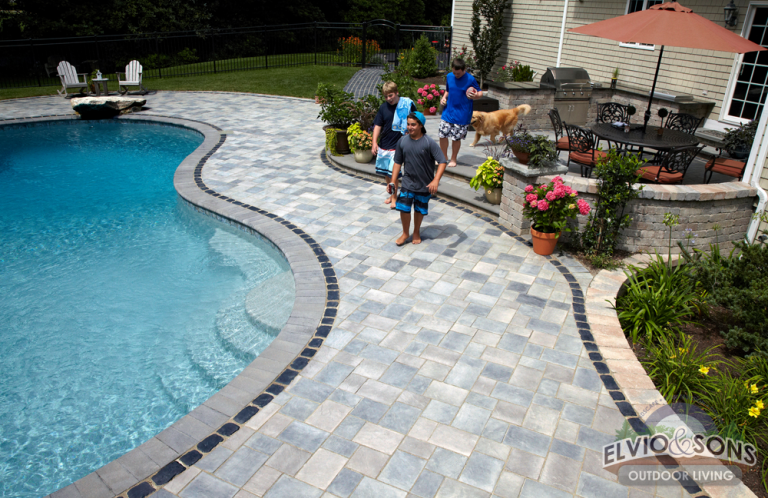 Attractive Saunderstown, RI Gunite Pool, Patio, And Water Features
