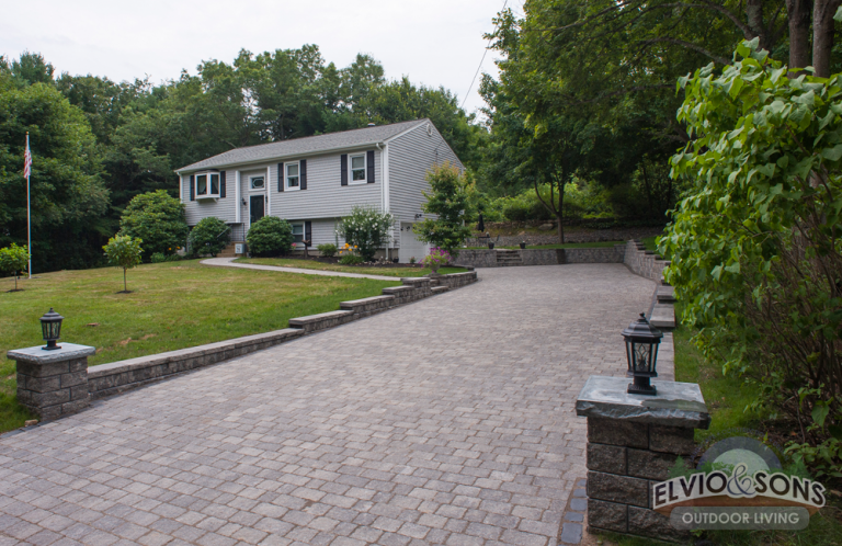 Paver Driveway, Walkways, and Retaining Walls installed in Hope, RI