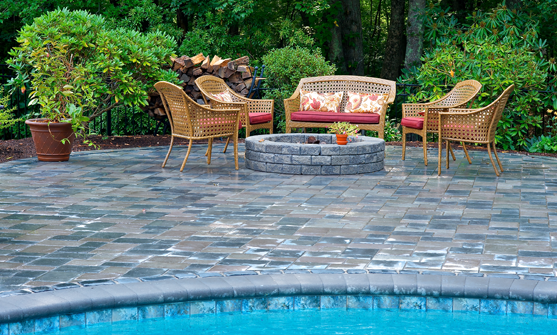 Patios in New England by Elvio and Sons, using Unilock product